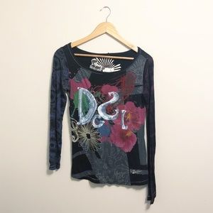 Desigual Sequin Abstract Long Sleeve Tee Size Med